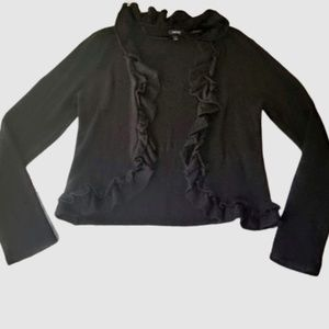 Apt. 9 Soft Ruffle Cardigan Black